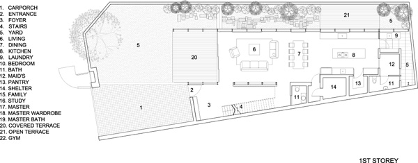 תכנית מפלס הקרקע. תכנון: HYLA Architects