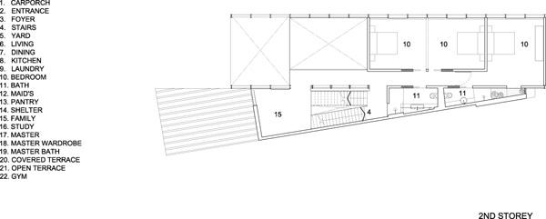 תכנית מפלס המגורים. תכנון: HYLA Architects