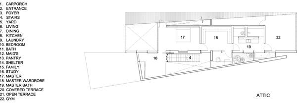 תכנית מפלס עליית הגג. תכנון: HYLA Architects