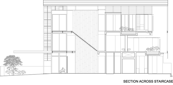 חתך דרך המדרגות. תכנון: HYLA Architects