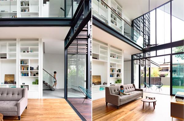 הספריה הנוכחת בשתי הקומות. תכנון: HYLA Architects. צילום: Mr. Derek Swalwell