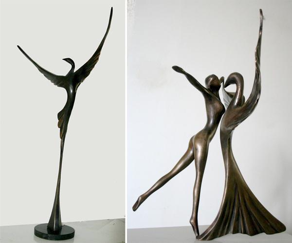 מימין: ריקוד האהבה. משמאל: ציפור. מפסליו של יפים שיסטיק אשר יוצגו בתערוכה החדשה