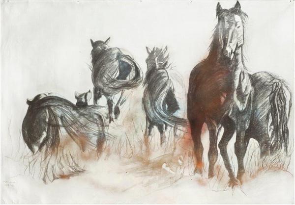 בתיה רגב, סוסים דוהרים, טכניקה גרפית ועפרונות פחם, צילום - רן ארדה