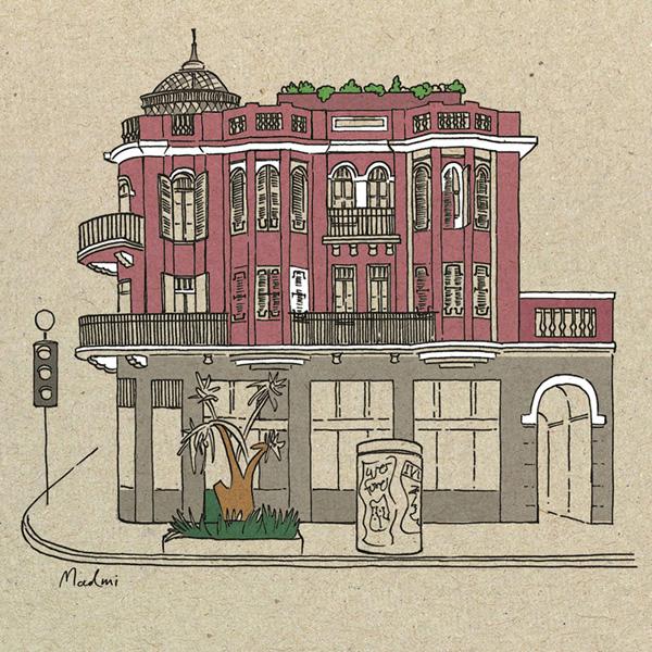 איור מלוח השנה של מרב מירצקי בשיתוף סופרגרף 1979. מלון נורדוי, 1925, אדריכל – יהודה מגידוביץ