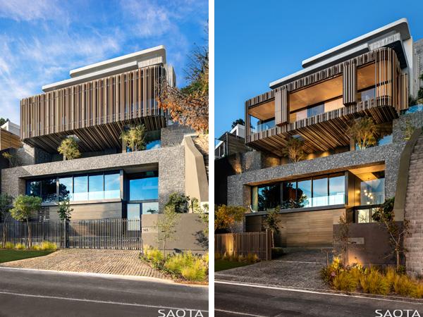 חזית המבנה ביום ובלילה, תריסי הקומה העליונה מדמים קליפת עץ וניתנים להסטה