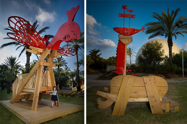 פסלי עץ ומתכת ענקיים מתוך התערוכה חיות ליל קיץ- קרדיט צילום: ענבל מרמרי.