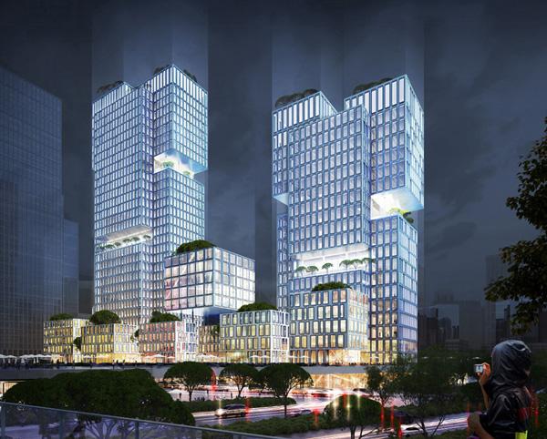 קוביות מרחפות המסמלות את החלקים העסקיים השונים של התאגיד © gmp Architects