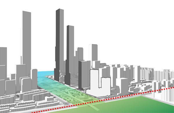 פרוייקט המגדלים ממוקם בין רצועת החוף לבין הפארק המרכזי באדיבות © gmp Architects