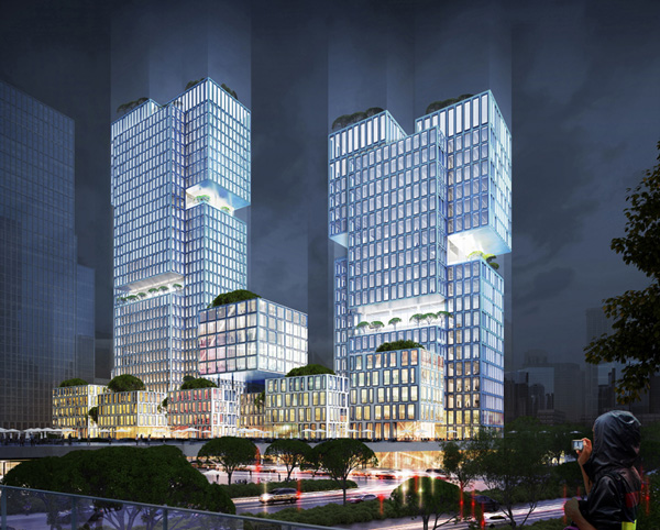 Northeast perspective by night © gmp Architects