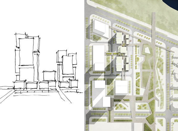 right: Concept sketch, left: Birdview © gmp Architects