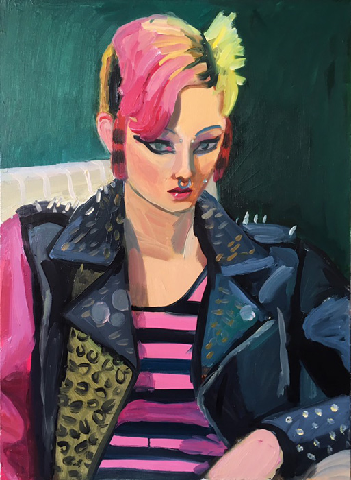 Anna Lukashevsky, Punk girl, 2019, oil on canvas