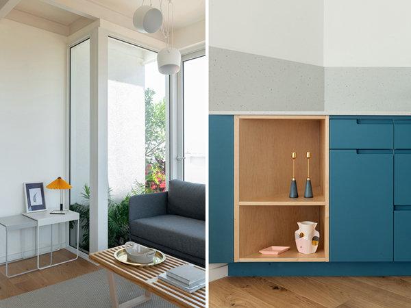 nימין: פרט מטבח - צבע כחול קופסת מייפל ידיות אינטגראליות. משמאל: האדנית שחודרת לסלון, צילום: גדעון לוין