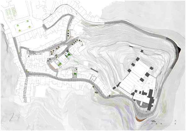 תוכנית פני השטח ההרריים והמבנים המוקפים במסלול הטיול. באדיבות:  WaterScales arquitectos