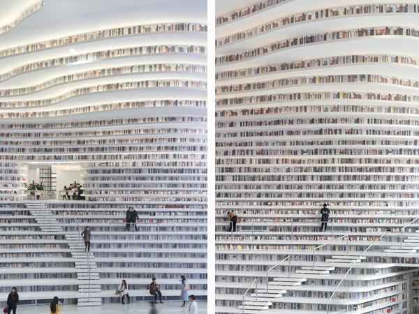 הגישה למדפים העליונים בלתי אפשרית כרגע Tianjin Binhai Library -MVRDV, Photograper: Ossip van Duivenbode