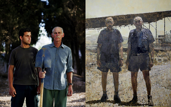 משמאל: אבא ואני בדיעבד. צילום הדר סייפן. מימין: צילום של עדי נס