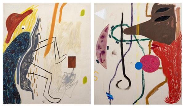 מימין: Shai Yehezkelli, Self Portrait with Cane. משמאל: Shai Yehezkelli, Peacock Self Portrait