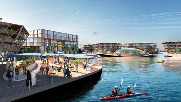 VILLAGE HARBOR DAYTIME: Socializing, play, and commerce are concentrated