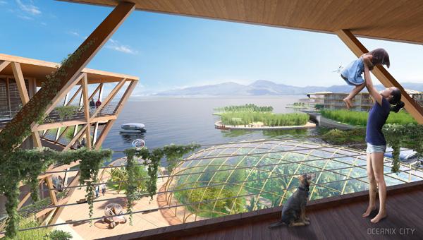 I- mage by BIG / Bjarke IngelsGroupהקהילה הצפה מעוצבת כמערכת אקולוגית מעשה ידי אדם