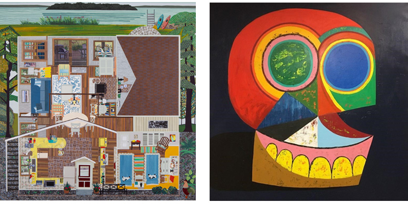 מימין: ג׳ונתן אדלהובר, אקט העלמות מספר 6, 2020. משמאל: אן טואבה, מישיגן VRBO, 2019