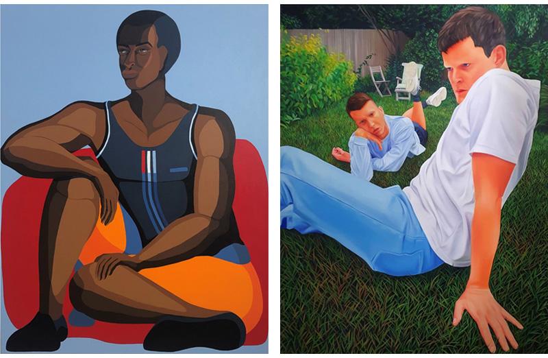 מימין: כריסטופר הרטמן ללא כותרת, 2020. משמאל: נירית טקלה, נער עם שלושה פסים