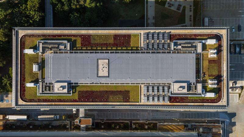 שטחים ירוקים על גג המבנה, צילום: נלסון קון ופדרו מסקרו [תמונות רחפן]