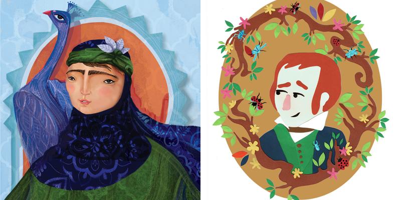 מימין: חן לב, דיוקן דארוין, 2019, מגזרות נייר, משמאל: אדוה רודן, פאטימה מוחמד אל-פיהרי, איור דיגיטלי מונפש