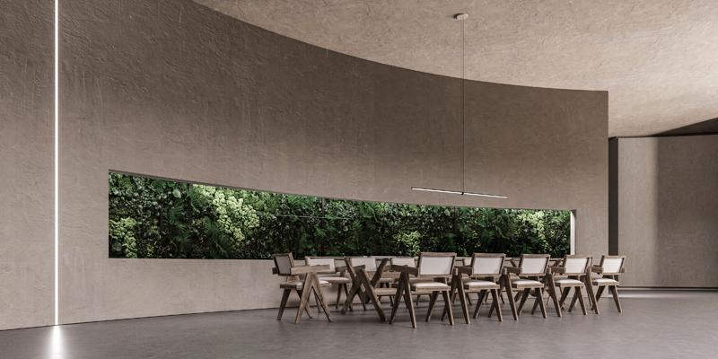 חדר האוכל, נוף מוקרן מתחלף. אדריכלות, הדמיה וקונספט :סטודיו מקנו
