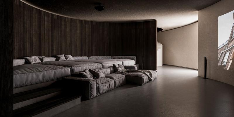 קולנוע ביתי, עם ספריית סרטים. אדריכלות, הדמיה וקונספט :סטודיו מקנו