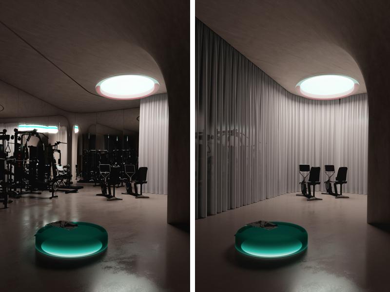 חדר הכושר, ניתן להפרדה. אדריכלות, הדמיה וקונספט :סטודיו מקנו