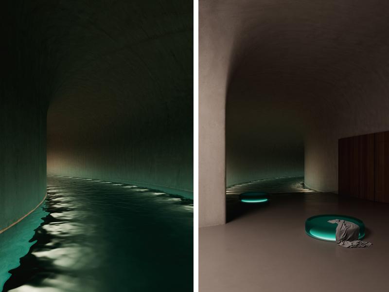 הבריכה המוחשכת, מדמה שחיה לילית בים. אדריכלות, הדמיה וקונספט :סטודיו מקנו