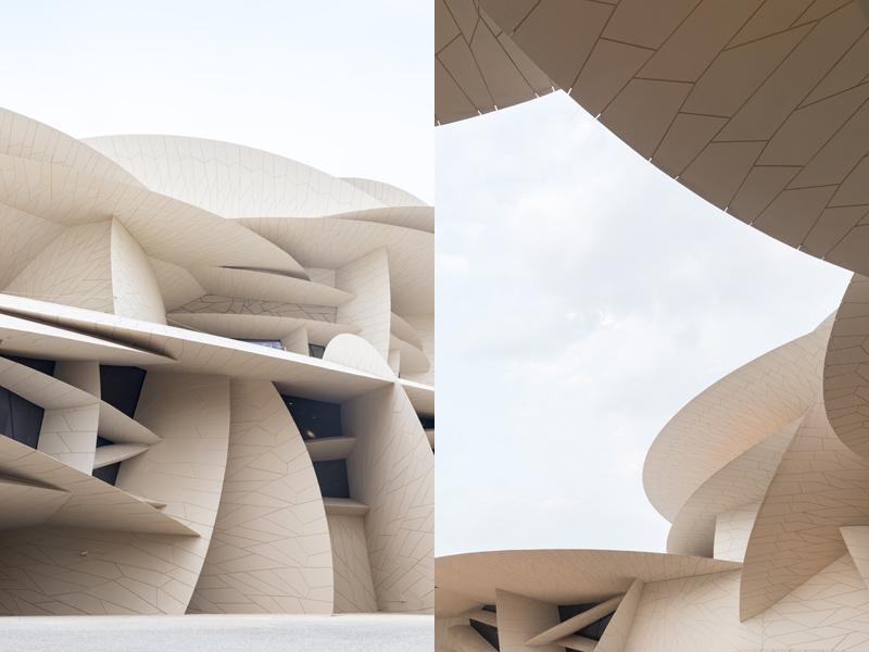מבט מקרוב על הדיסקים המשתלבים הבונים את המוזיאון הלאומי של קטאר שתוכנן על ידי ז