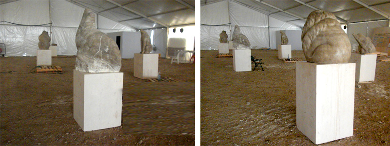 ניצול אוהל במפעלי ים המלח לתצוגת פיסול חיות העשויות מאבן מלח, אוצר: דורון פולק. צילום: ארטורא