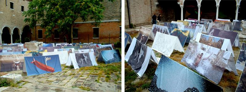 אמנות ישראלית מוצגת כאהלים בחצר מנזר בבינאלה ונציה, התערוכה שכינה באוהל,צילום: ארטורא
