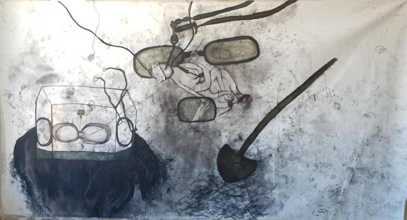 מריה סאלח מחאמיד, מות הבן, פחם על בד, 2021,קרדיט צילום: יובל חי