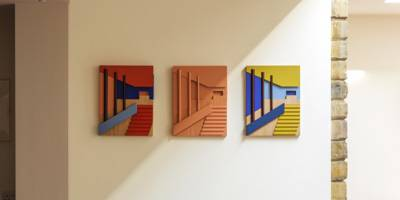 Modernist assemblage of interior spaces, architecture and colour